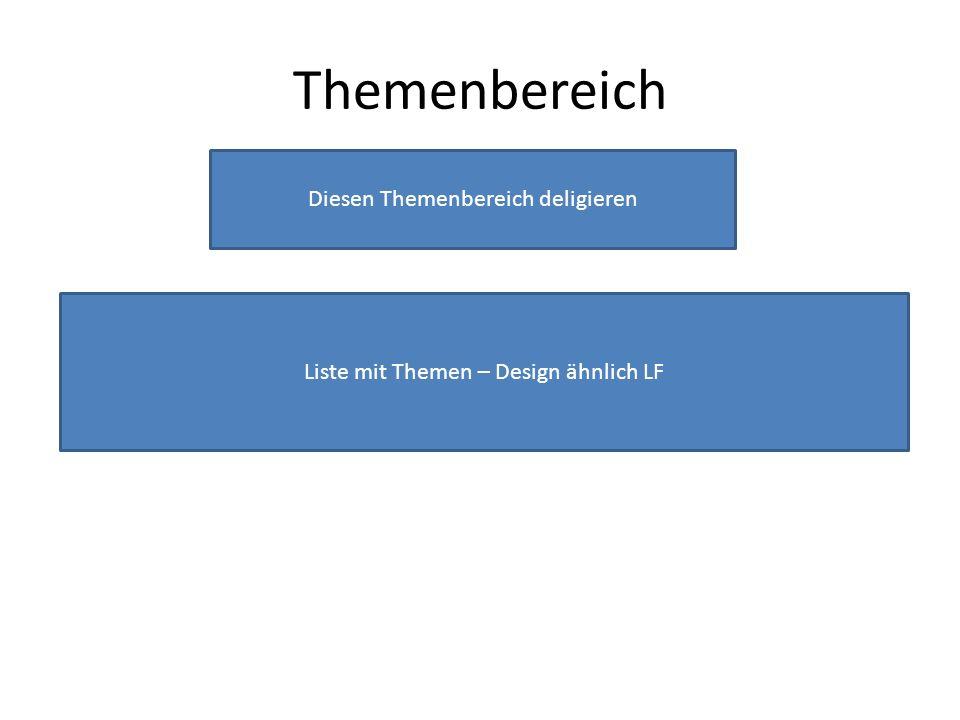 Themenbereich Diesen Themenbereich deligieren Liste mit Themen – Design ähnlich LF
