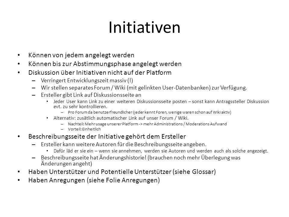 Initiativen Können von jedem angelegt werden Können bis zur Abstimmungsphase angelegt werden Diskussion über Initiativen nicht auf der Platform – Verr