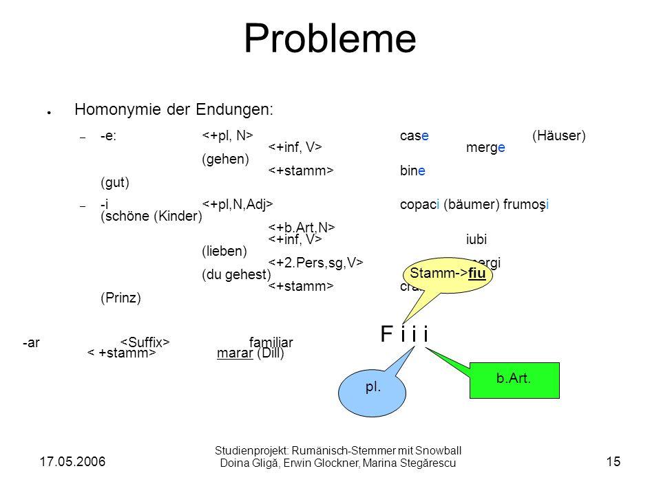 17.05.200615 Probleme Homonymie der Endungen: – -e: case (Häuser) merge (gehen) bine (gut) – -i copaci (bäumer) frumoşi (schöne (Kinder) iubi (lieben) mergi (du gehest) crai (Prinz) F i i i Stamm->fiu pl.