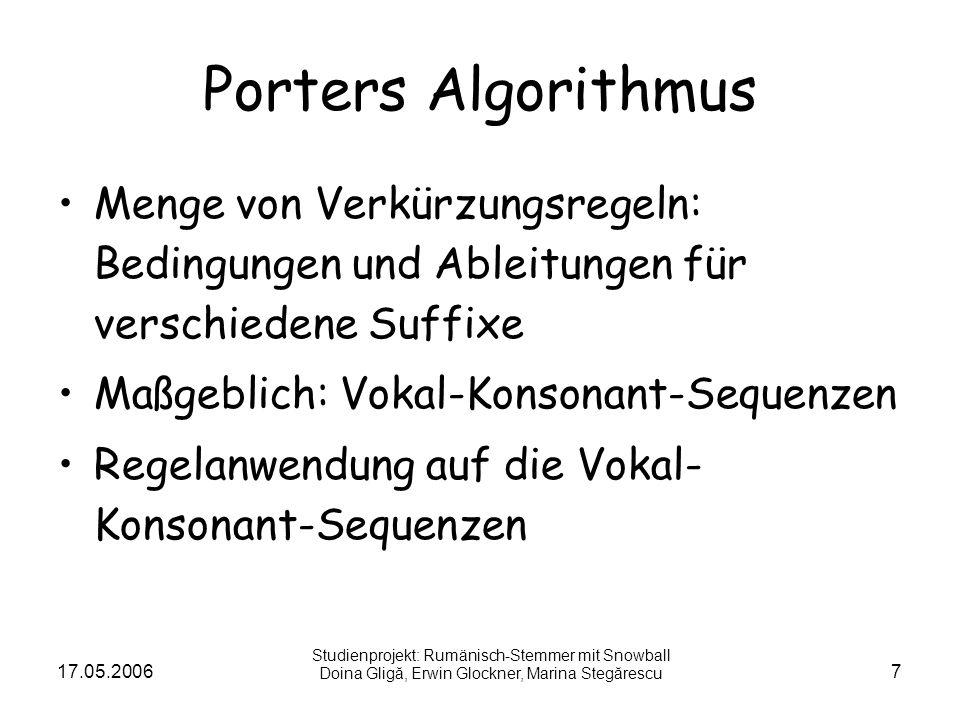 17.05.20067 Porters Algorithmus Menge von Verkürzungsregeln: Bedingungen und Ableitungen für verschiedene Suffixe Maßgeblich: Vokal-Konsonant-Sequenze