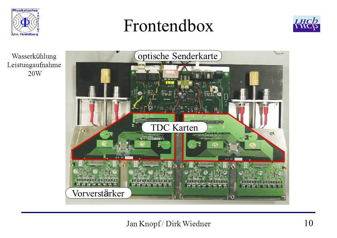 10 Jan Knopf / Dirk Wiedner Frontendbox optische Senderkarte TDC Karten Vorverst ä rker Wasserk ü hlung Leistungaufnahme 20W