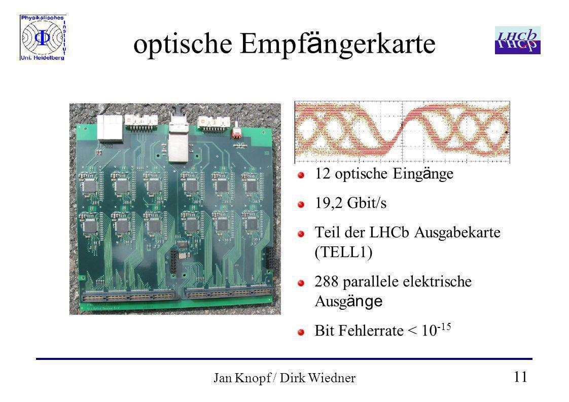 11 Jan Knopf / Dirk Wiedner optische Empf ä ngerkarte 12 optische Eing ä nge 19,2 Gbit/s Teil der LHCb Ausgabekarte (TELL1) 288 parallele elektrische Ausg änge Bit Fehlerrate < 10 -15
