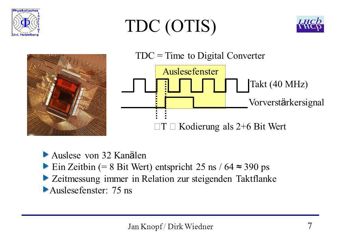 7 Jan Knopf / Dirk Wiedner Auslesefenster TDC (OTIS) TDC = Time to Digital Converter Takt (40 MHz) Vorverst ä rkersignal T Kodierung als 2+6 Bit Wert Auslese von 32 Kan ä len Ein Zeitbin (= 8 Bit Wert) entspricht 25 ns / 64 390 ps Zeitmessung immer in Relation zur steigenden Taktflanke Auslesefenster: 75 ns