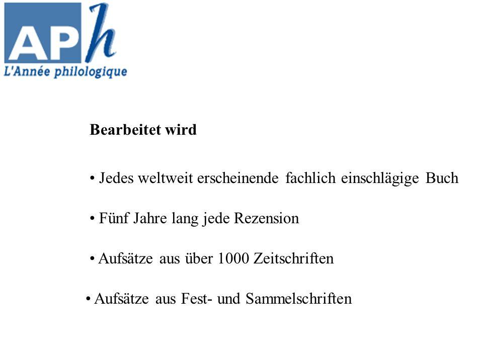 Die Année philologique im Internet: http://www.annee-philologique.com