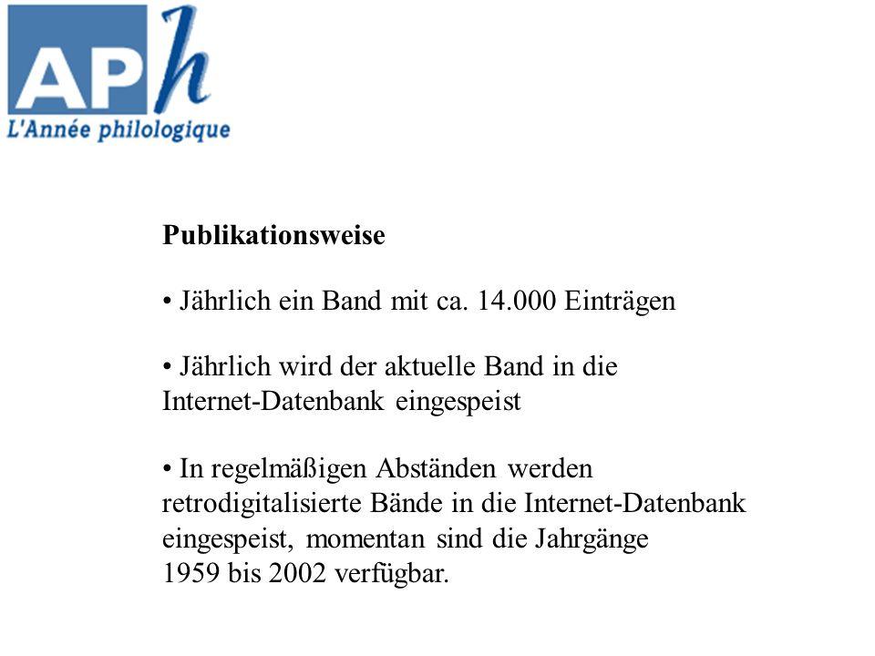 In regelmäßigen Abständen werden retrodigitalisierte Bände in die Internet-Datenbank eingespeist, momentan sind die Jahrgänge 1959 bis 2002 verfügbar.
