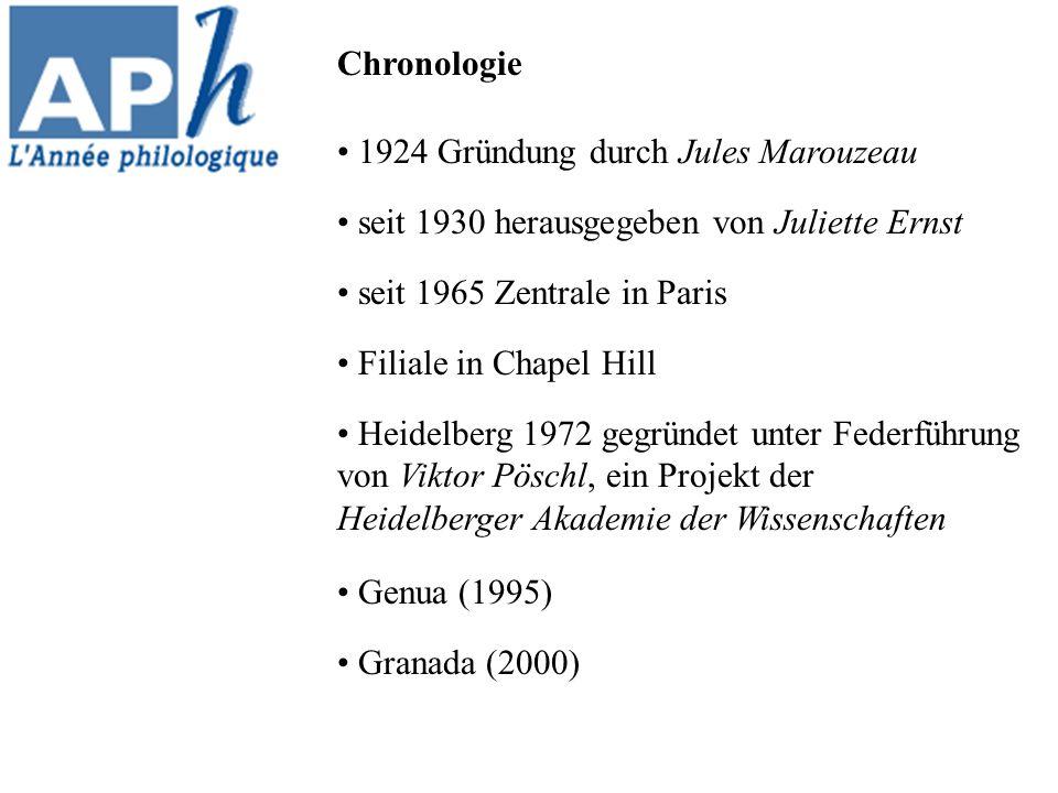 1924 Gründung durch Jules Marouzeau seit 1930 herausgegeben von Juliette Ernst seit 1965 Zentrale in Paris Filiale in Chapel Hill Heidelberg 1972 gegründet unter Federführung von Viktor Pöschl, ein Projekt der Heidelberger Akademie der Wissenschaften Genua (1995) Granada (2000) Chronologie
