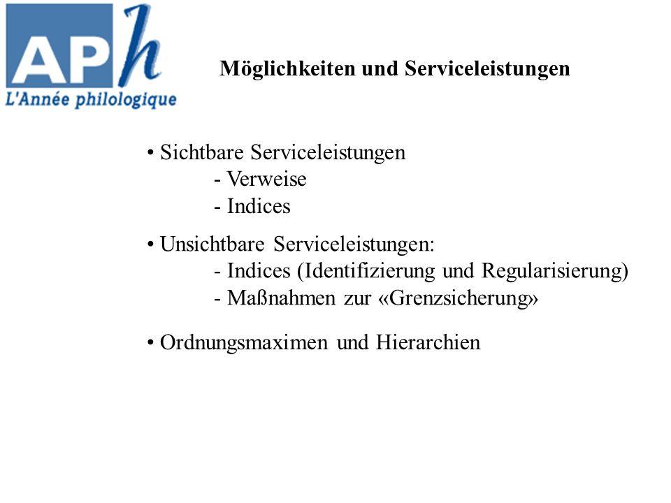 Ordnungsmaximen und Hierarchien Möglichkeiten und Serviceleistungen Sichtbare Serviceleistungen - Verweise - Indices Unsichtbare Serviceleistungen: - Indices (Identifizierung und Regularisierung) - Maßnahmen zur «Grenzsicherung»