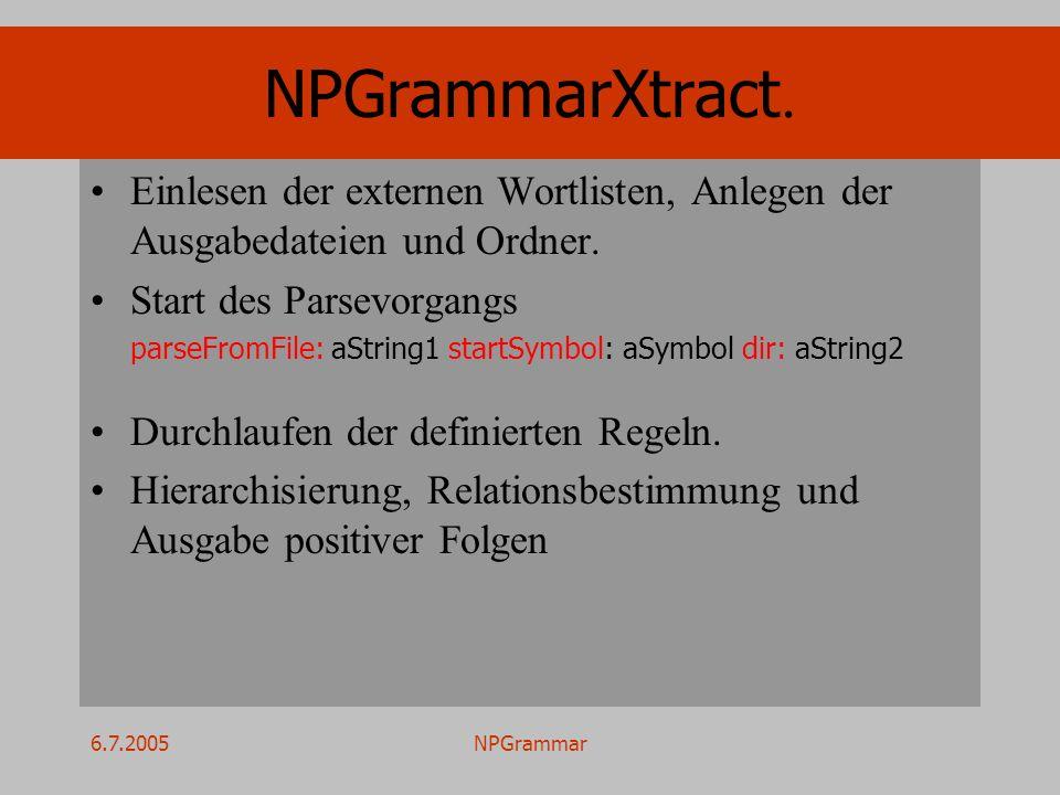 6.7.2005NPGrammar NPGrammarXtract. Einlesen der externen Wortlisten, Anlegen der Ausgabedateien und Ordner. Start des Parsevorgangs parseFromFile: aSt