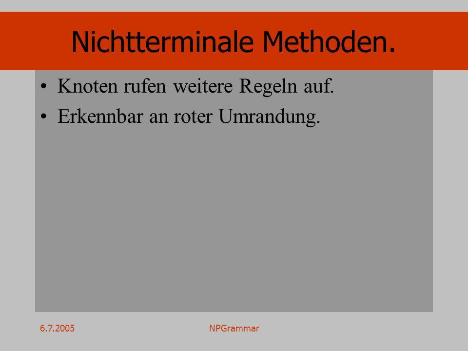 6.7.2005NPGrammar Nichtterminale Methoden. Knoten rufen weitere Regeln auf. Erkennbar an roter Umrandung.