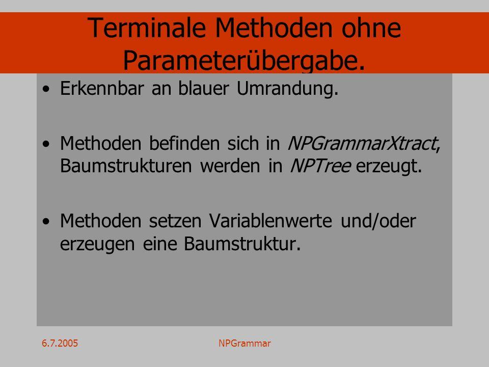 6.7.2005NPGrammar Terminale Methoden ohne Parameterübergabe. Erkennbar an blauer Umrandung. Methoden befinden sich in NPGrammarXtract, Baumstrukturen