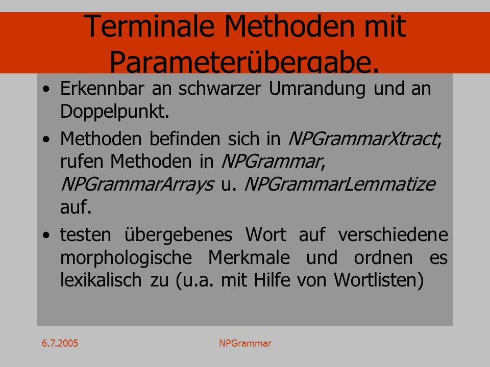 6.7.2005NPGrammar Terminale Methoden mit Parameterübergabe. Erkennbar an schwarzer Umrandung und an Doppelpunkt. Methoden befinden sich in NPGrammarXt