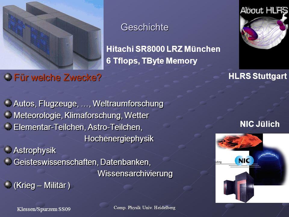 Comp. Physik Univ. Heidelberg Klessen/Spurzem SS09 Für welche Zwecke.