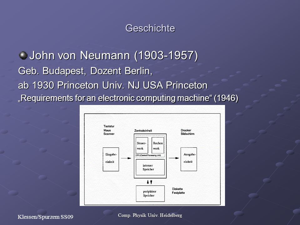 Comp. Physik Univ. Heidelberg Klessen/Spurzem SS09 John von Neumann (1903-1957) Geb. Budapest, Dozent Berlin, ab 1930 Princeton Univ. NJ USA Princeton