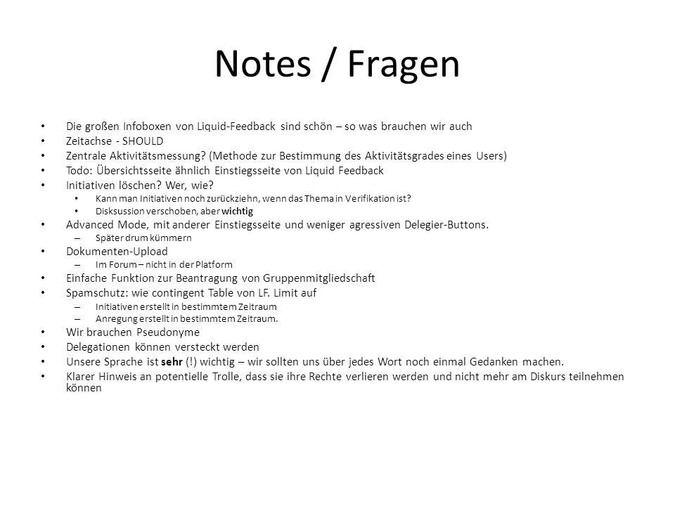 Notes / Fragen Die großen Infoboxen von Liquid-Feedback sind schön – so was brauchen wir auch Zeitachse - SHOULD Zentrale Aktivitätsmessung.