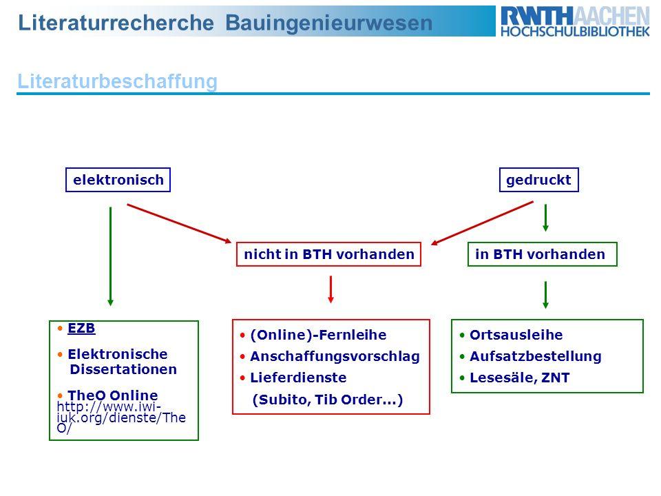 Literaturrecherche Bauingenieurwesen elektronischgedruckt EZB Elektronische Dissertationen TheO Online http://www.iwi- iuk.org/dienste/The O/ nicht in