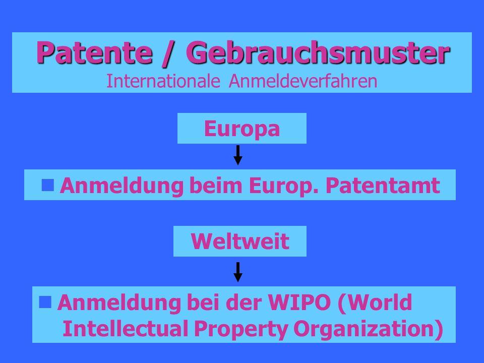 Patente / Gebrauchsmuster Patente / Gebrauchsmuster Internationale Anmeldeverfahren Europa Anmeldung beim Europ. Patentamt Weltweit Anmeldung bei der
