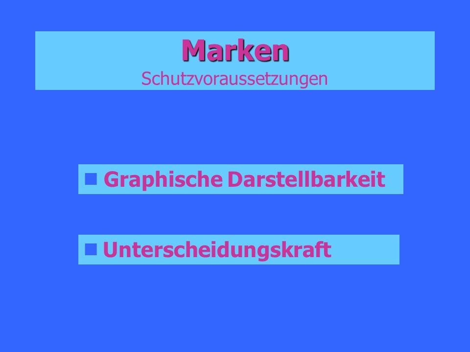 Marken Marken Schutzvoraussetzungen Graphische Darstellbarkeit Unterscheidungskraft