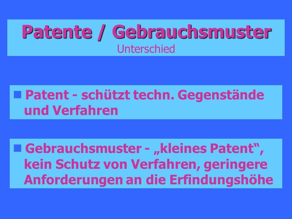 Patente / Gebrauchsmuster Patente / Gebrauchsmuster Unterschied Patent - schützt techn. Gegenstände und Verfahren Gebrauchsmuster - kleines Patent, ke