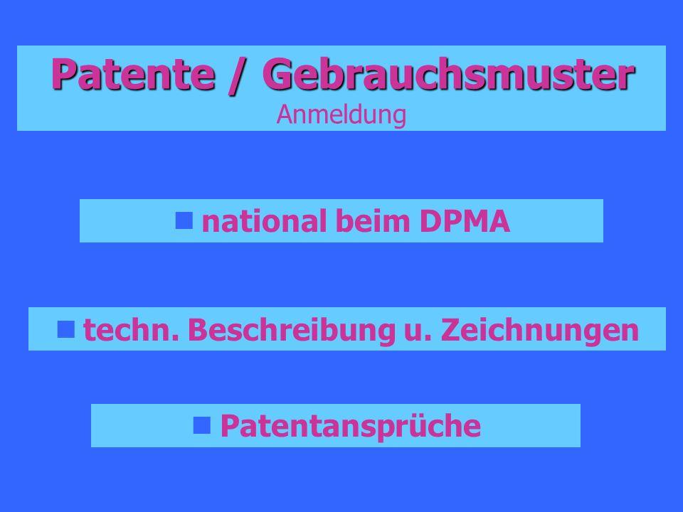 Patente / Gebrauchsmuster Patente / Gebrauchsmuster Anmeldung national beim DPMA techn. Beschreibung u. Zeichnungen Patentansprüche