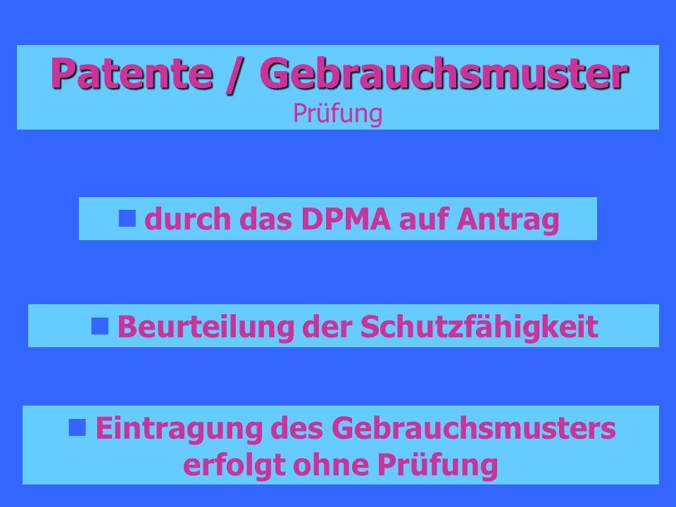 Patente / Gebrauchsmuster Patente / Gebrauchsmuster Prüfung durch das DPMA auf Antrag Beurteilung der Schutzfähigkeit Eintragung des Gebrauchsmusters