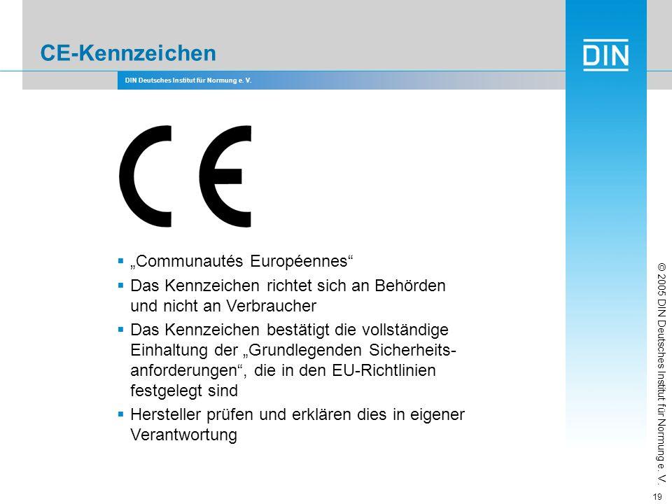 DIN Deutsches Institut für Normung e. V. 19 CE-Kennzeichen Communautés Européennes Das Kennzeichen richtet sich an Behörden und nicht an Verbraucher D