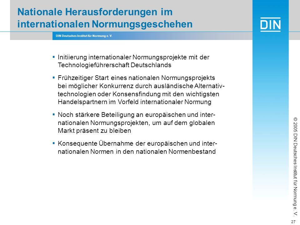 DIN Deutsches Institut für Normung e. V. 27 Initiierung internationaler Normungsprojekte mit der Technologieführerschaft Deutschlands Frühzeitiger Sta