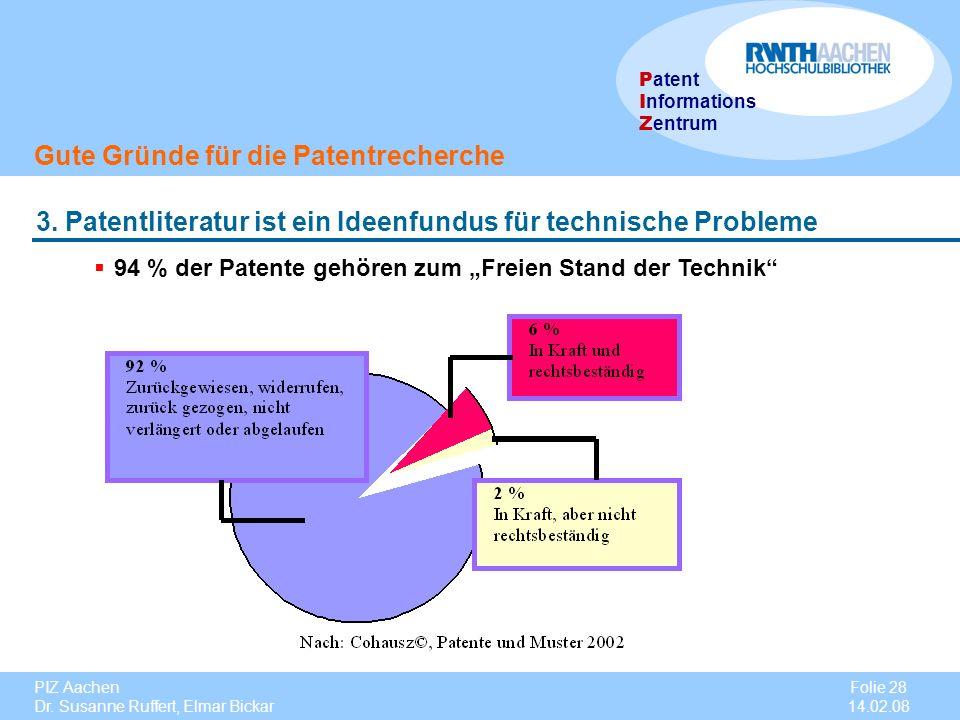 PIZ Aachen Dr. Susanne Ruffert, Elmar Bickar Folie 28 14.02.08 P atent I nformations Z entrum Gute Gründe für die Patentrecherche 3. Patentliteratur i