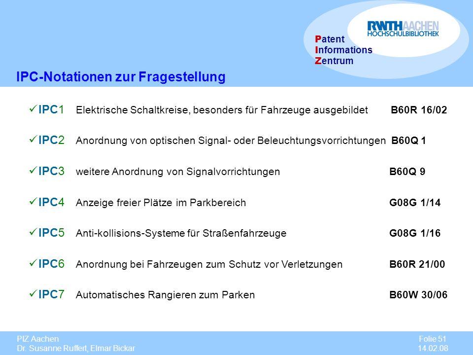 PIZ Aachen Dr. Susanne Ruffert, Elmar Bickar Folie 51 14.02.08 P atent I nformations Z entrum IPC-Notationen zur Fragestellung IPC1 Elektrische Schalt