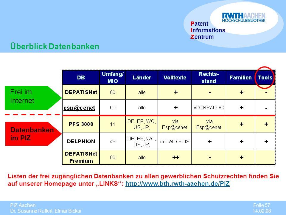 PIZ Aachen Dr. Susanne Ruffert, Elmar Bickar Folie 57 14.02.08 P atent I nformations Z entrum Datenbanken im PIZ Listen der frei zugänglichen Datenban