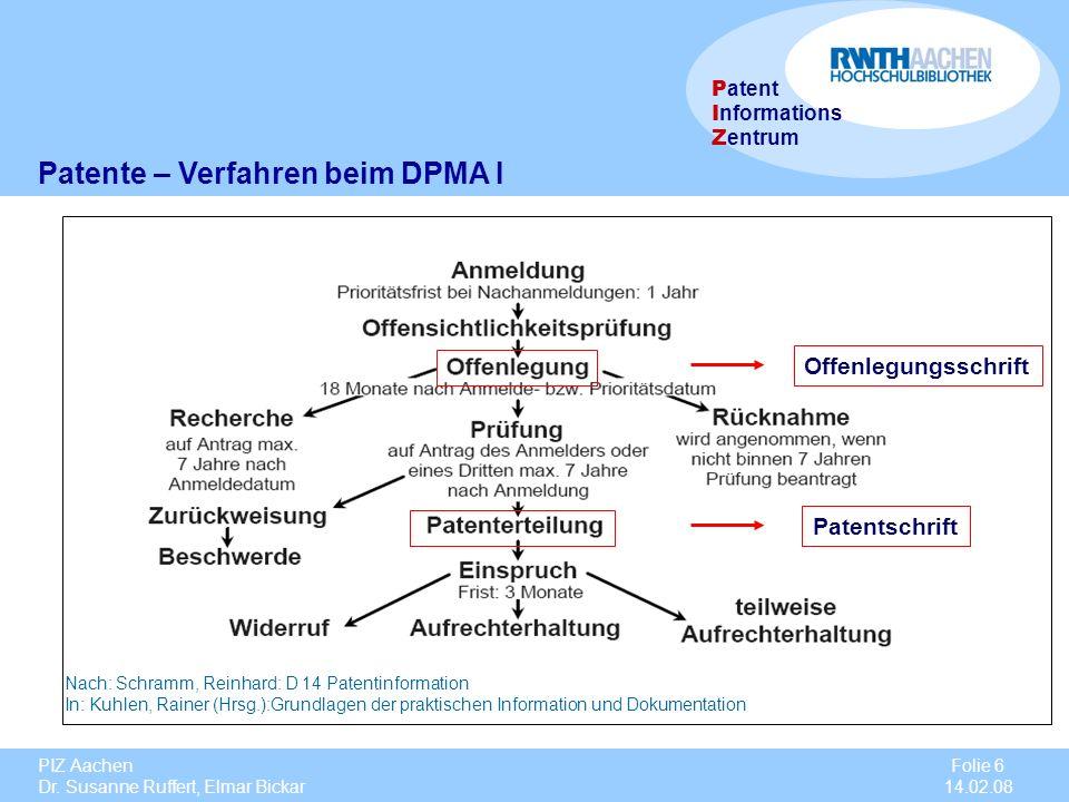 PIZ Aachen Dr. Susanne Ruffert, Elmar Bickar Folie 6 14.02.08 P atent I nformations Z entrum Patente – Verfahren beim DPMA I Offenlegungsschrift Paten