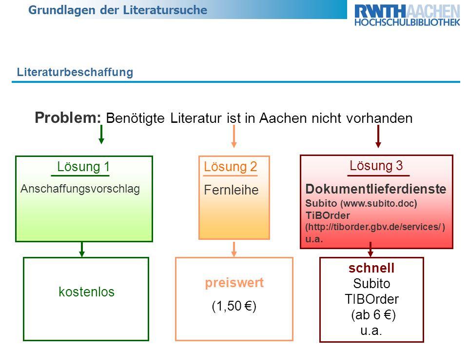 Grundlagen der Literatursuche Literaturbeschaffung Problem: Benötigte Literatur ist in Aachen nicht vorhanden schnell Subito TIBOrder (ab 6 ) u.a. pre