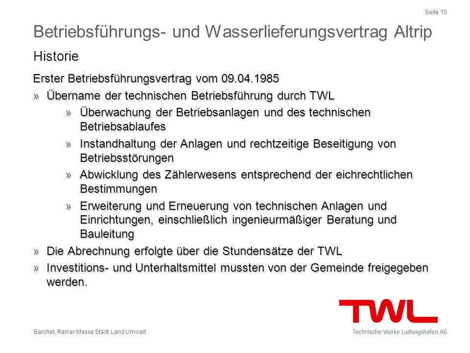 Seite 10 Barchet, Rainer Messe Stadt Land Umwelt Erster Betriebsführungsvertrag vom 09.04.1985 »Übername der technischen Betriebsführung durch TWL »Üb