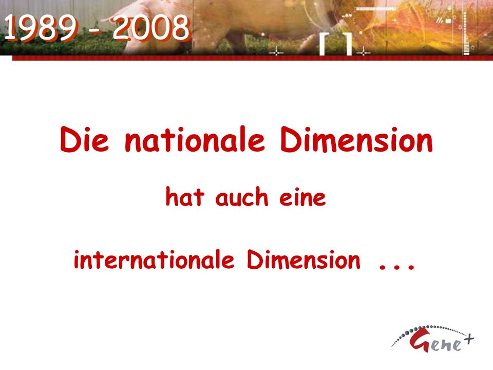 1989 - 2008 Die nationale Dimension hat auch eine internationale Dimension...
