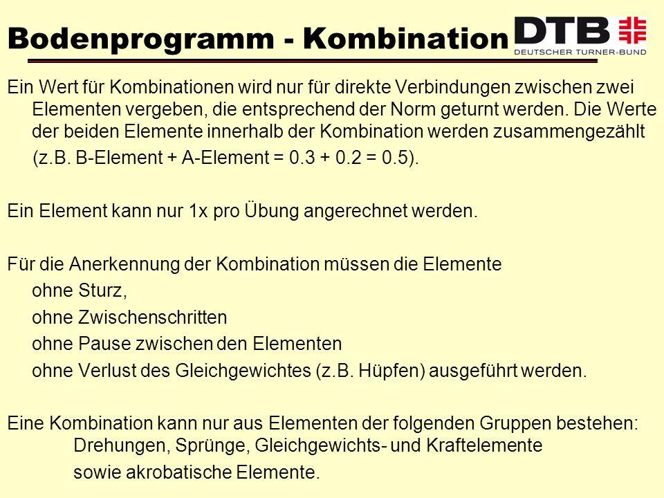 Bodenprogramm - Kombination Ein Wert für Kombinationen wird nur für direkte Verbindungen zwischen zwei Elementen vergeben, die entsprechend der Norm g