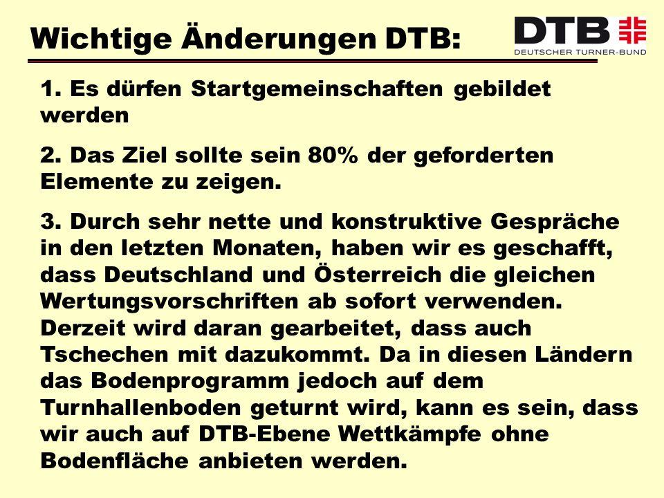 Wichtige Änderungen DTB: 1. Es dürfen Startgemeinschaften gebildet werden 2. Das Ziel sollte sein 80% der geforderten Elemente zu zeigen. 3. Durch seh