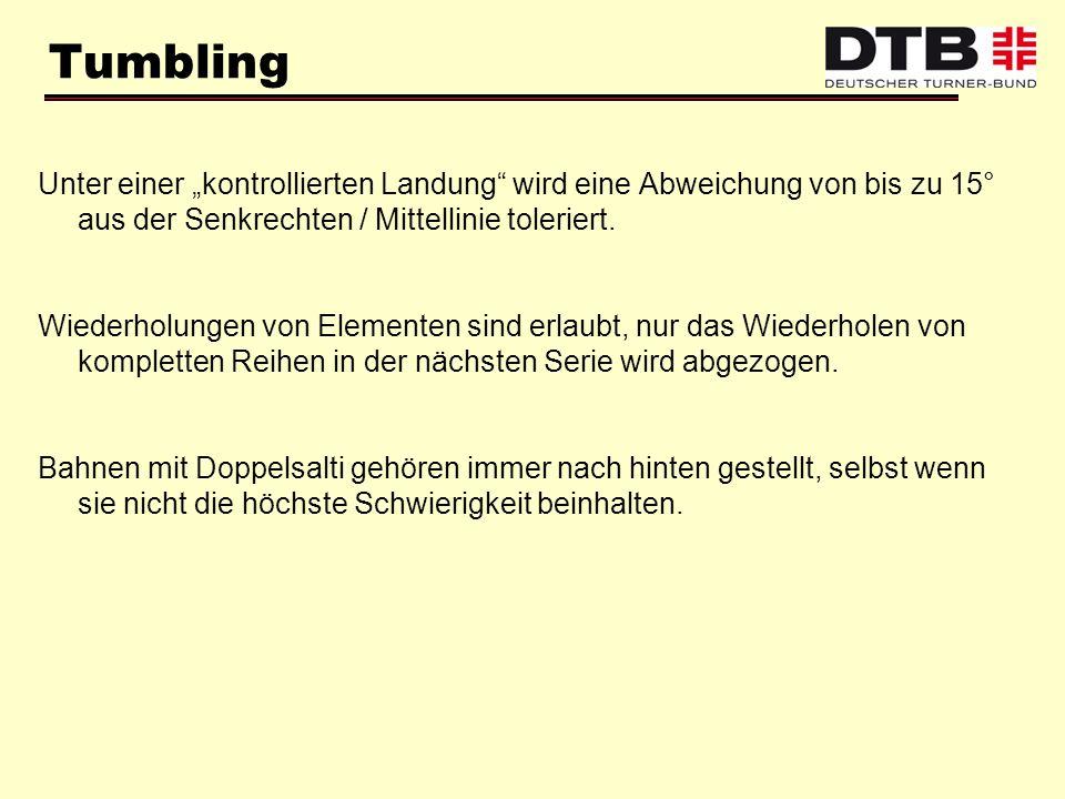 Tumbling Unter einer kontrollierten Landung wird eine Abweichung von bis zu 15° aus der Senkrechten / Mittellinie toleriert. Wiederholungen von Elemen