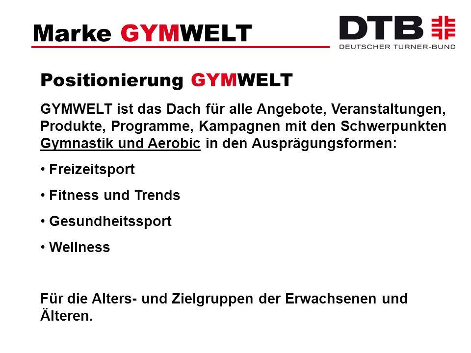 Marke GYMWELT Positionierung GYMWELT GYMWELT ist das Dach für alle Angebote, Veranstaltungen, Produkte, Programme, Kampagnen mit den Schwerpunkten Gym