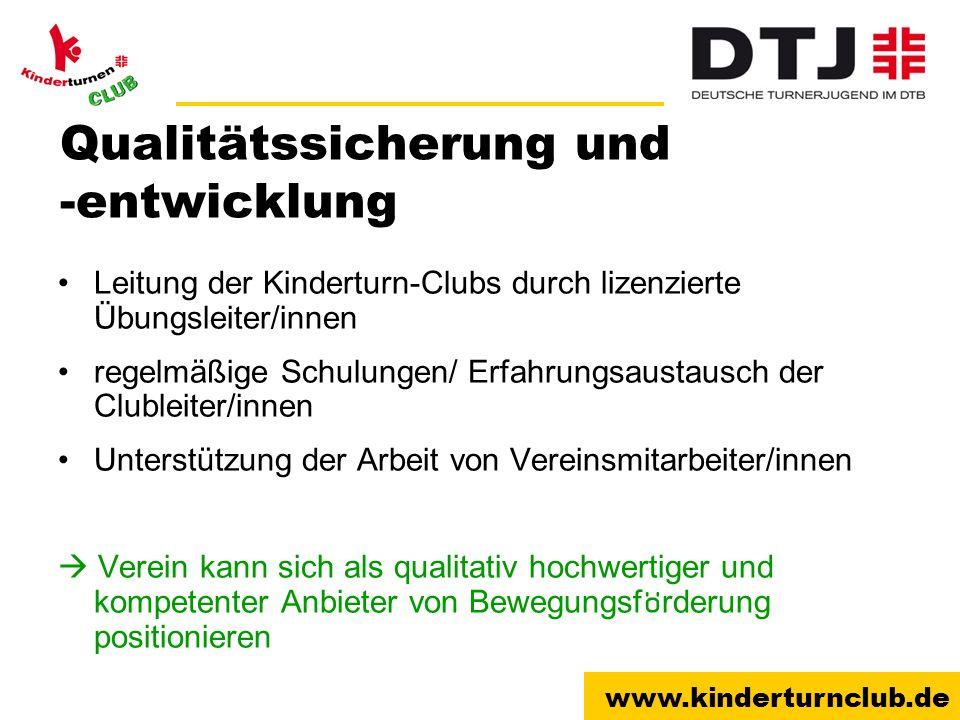 www.kinderturnclub.de Qualitätssicherung und -entwicklung Leitung der Kinderturn-Clubs durch lizenzierte Übungsleiter/innen regelmäßige Schulungen/ Er