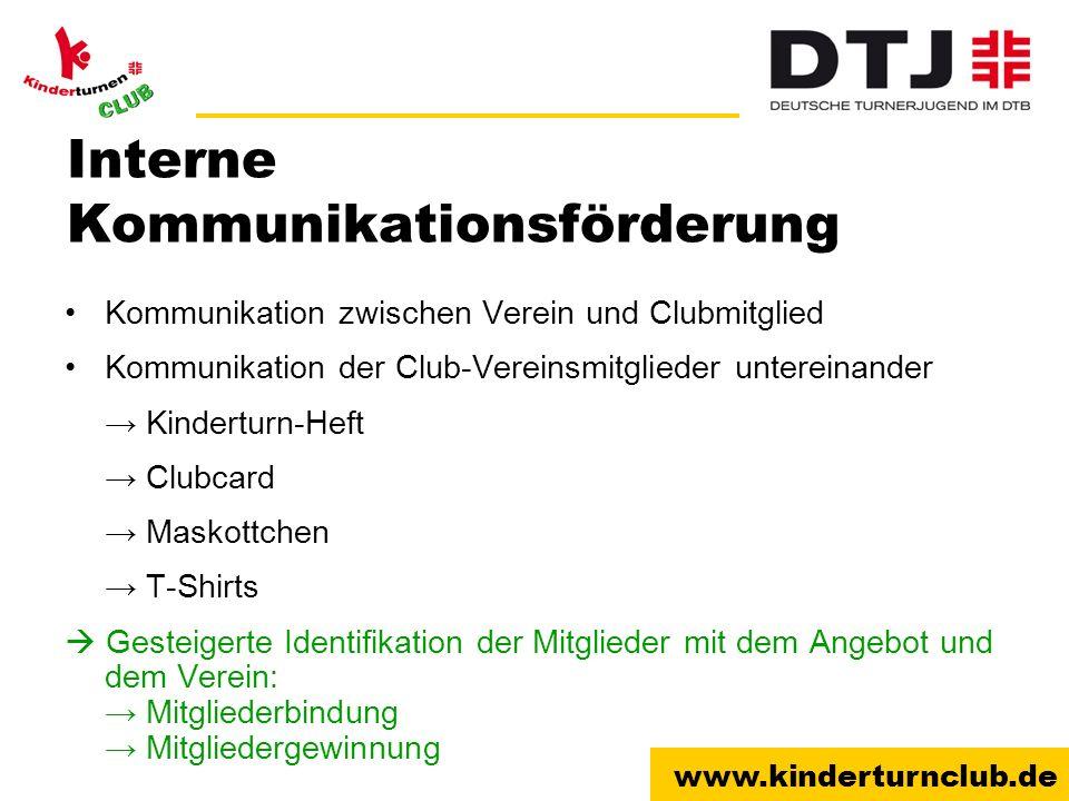 www.kinderturnclub.de Interne Kommunikationsförderung Kommunikation zwischen Verein und Clubmitglied Kommunikation der Club-Vereinsmitglieder unterein