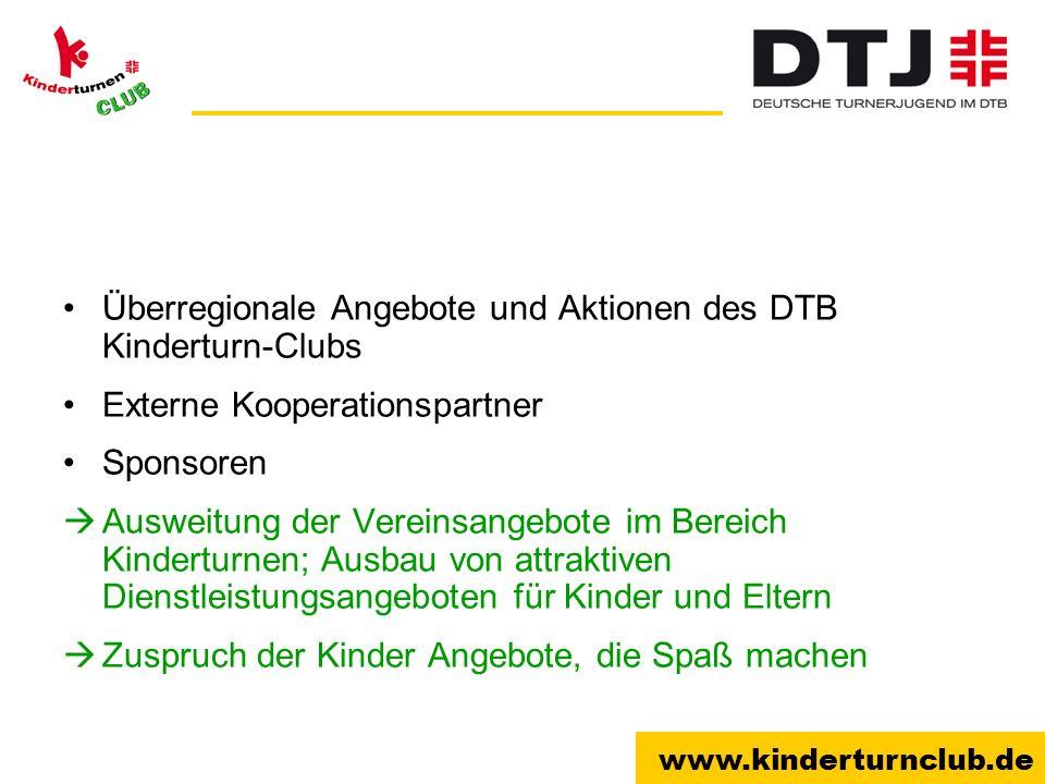 www.kinderturnclub.de Überregionale Angebote und Aktionen des DTB Kinderturn-Clubs Externe Kooperationspartner Sponsoren Ausweitung der Vereinsangebot