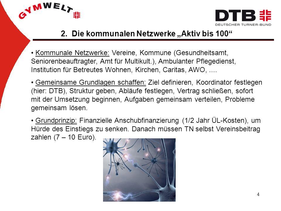 4 2. Die kommunalen Netzwerke Aktiv bis 100 Kommunale Netzwerke: Vereine, Kommune (Gesundheitsamt, Seniorenbeauftragter, Amt für Multikult.), Ambulant