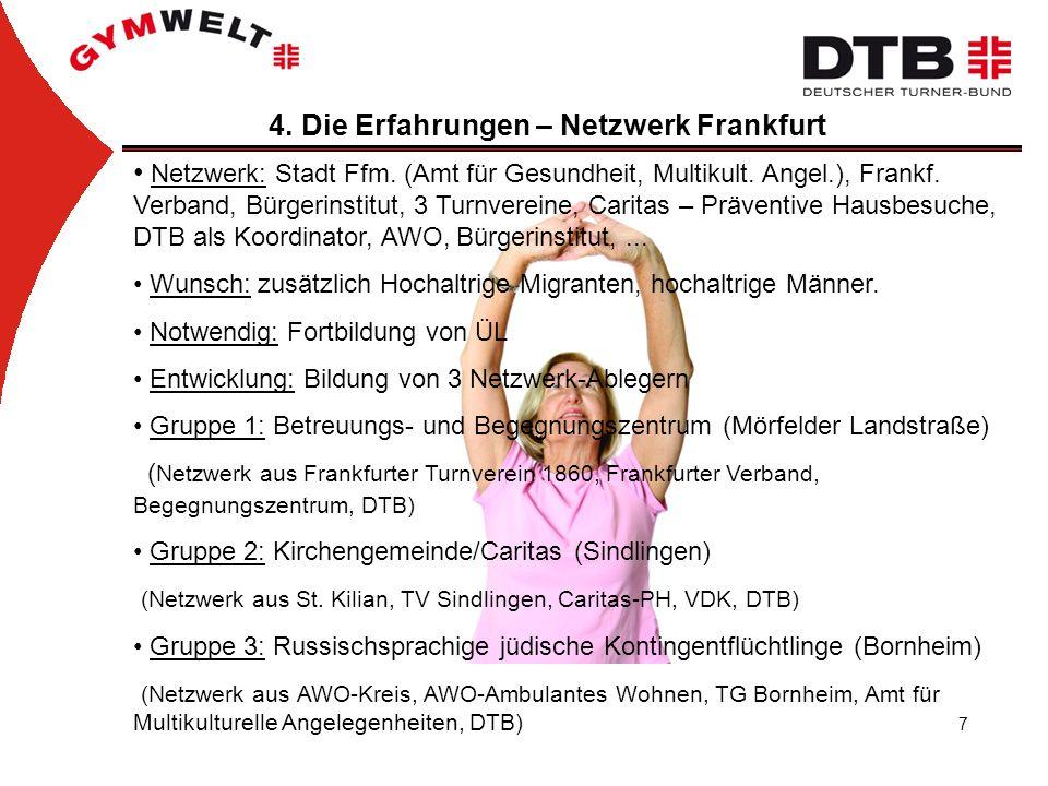 7 4. Die Erfahrungen – Netzwerk Frankfurt Netzwerk: Stadt Ffm. (Amt für Gesundheit, Multikult. Angel.), Frankf. Verband, Bürgerinstitut, 3 Turnvereine