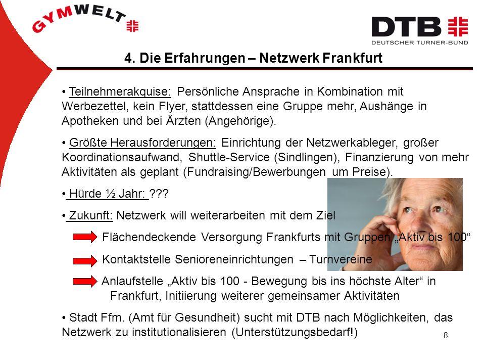 8 4. Die Erfahrungen – Netzwerk Frankfurt Teilnehmerakquise: Persönliche Ansprache in Kombination mit Werbezettel, kein Flyer, stattdessen eine Gruppe