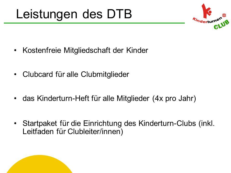 Kostenfreie Mitgliedschaft der Kinder Clubcard für alle Clubmitglieder das Kinderturn-Heft für alle Mitglieder (4x pro Jahr) Startpaket für die Einrichtung des Kinderturn-Clubs (inkl.