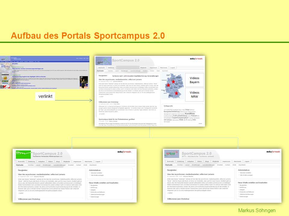 Markus Söhngen verlinkt Aufbau des Portals Sportcampus 2.0