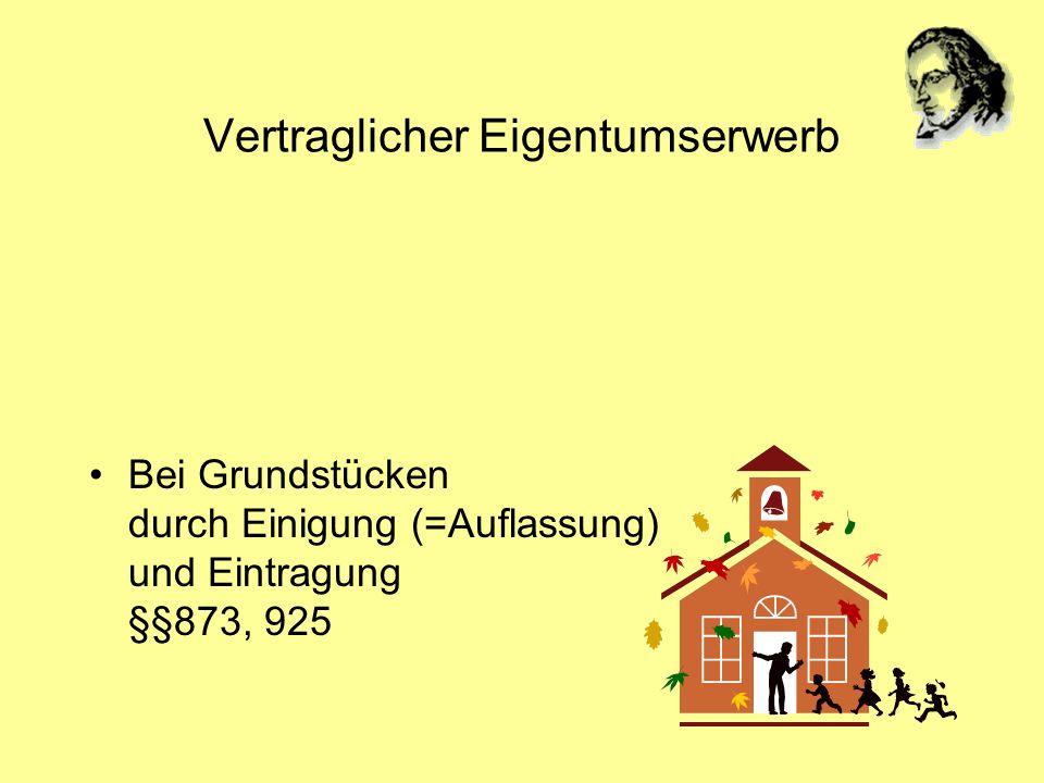 Vertraglicher Eigentumserwerb Bei Grundstücken durch Einigung (=Auflassung) und Eintragung §§873, 925