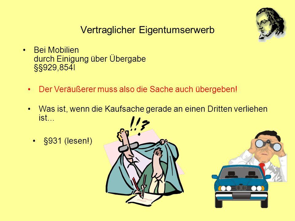 Vertraglicher Eigentumserwerb Bei Mobilien durch Einigung über Übergabe §§929,854I Was ist, wenn die Kaufsache gerade an einen Dritten verliehen ist..