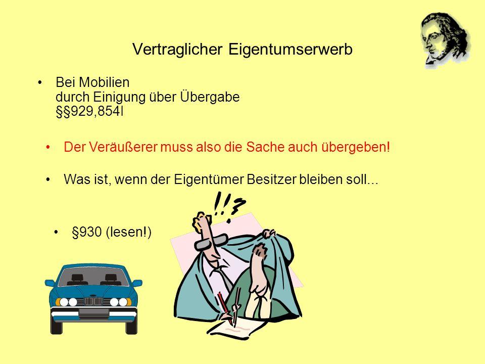 Vertraglicher Eigentumserwerb Bei Mobilien durch Einigung über Übergabe §§929,854I Was ist, wenn der Eigentümer Besitzer bleiben soll... Der Veräußere