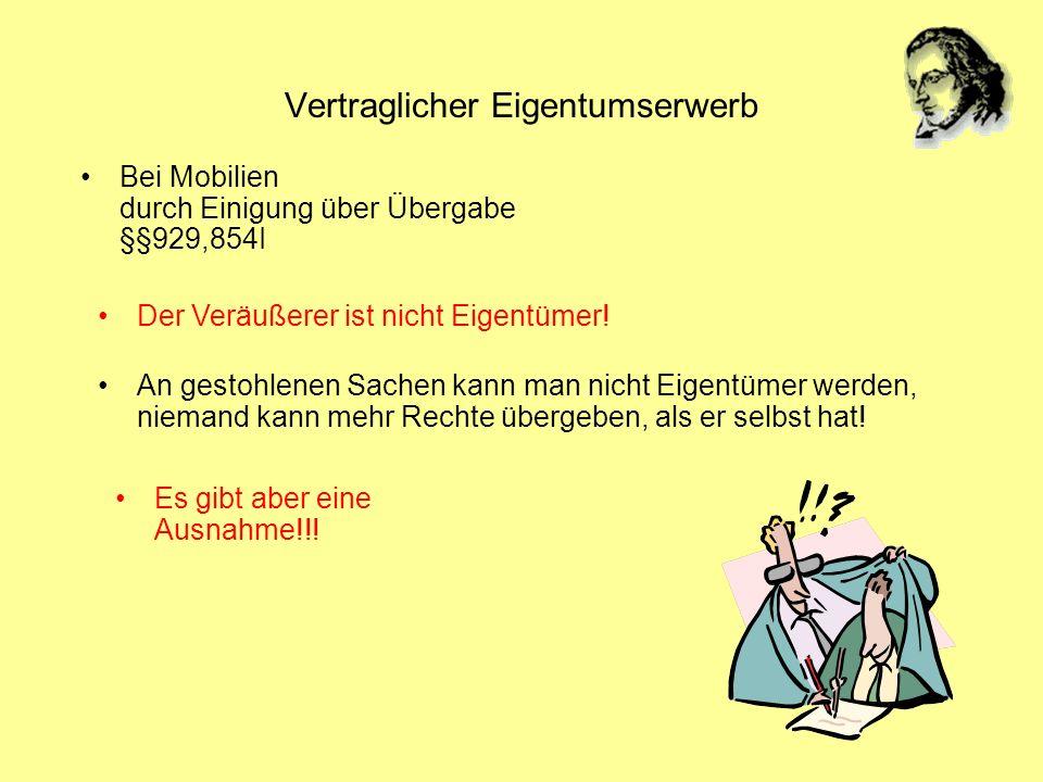 Vertraglicher Eigentumserwerb Bei Mobilien durch Einigung über Übergabe §§929,854I An gestohlenen Sachen kann man nicht Eigentümer werden, niemand kan