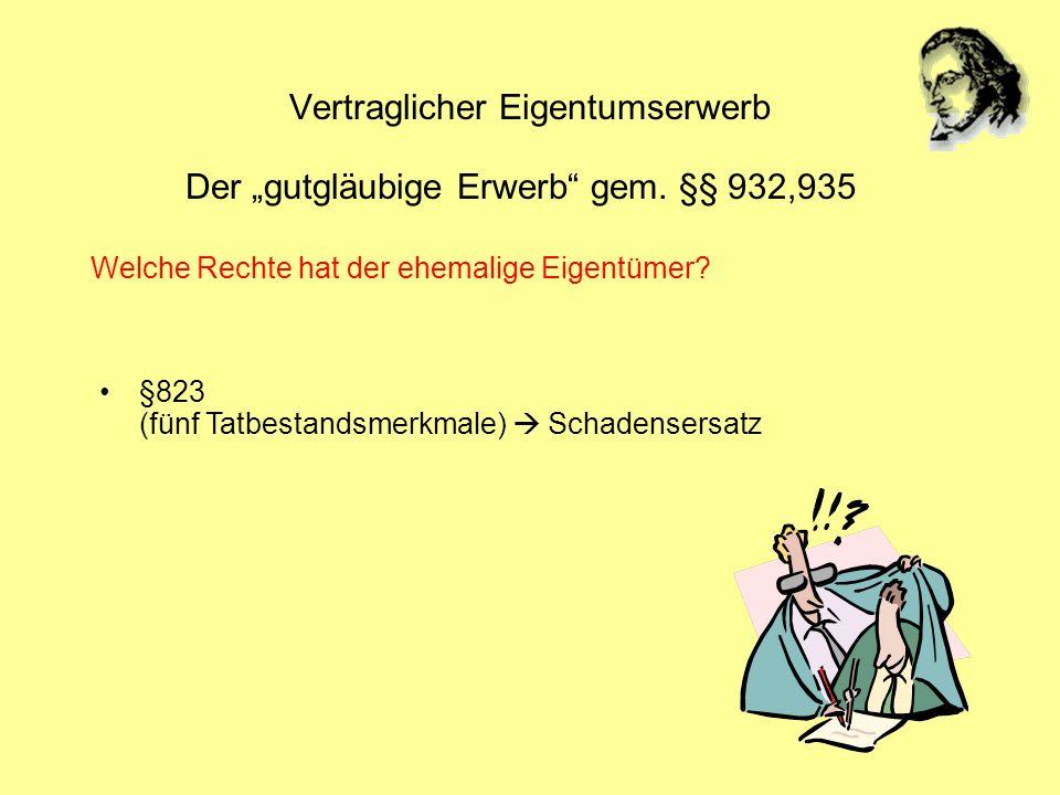 Vertraglicher Eigentumserwerb Der gutgläubige Erwerb gem. §§ 932,935 §823 (fünf Tatbestandsmerkmale) Schadensersatz Welche Rechte hat der ehemalige Ei